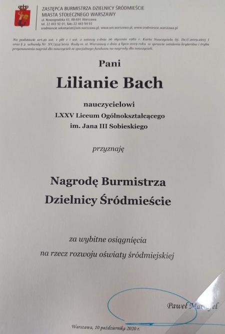 Pani Liliana Bach laureatką Nagrody Burmistrza Dzielnicy Śródmieście m.st. W